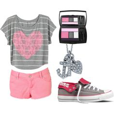 pink & gray, created by lizcantrell1 on Polyvore