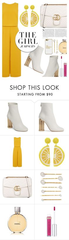 """""""colorful Jumpsuits"""" by mara-glamour ❤ liked on Polyvore featuring Salvatore Ferragamo, Kershaw, Kenneth Jay Lane, Gucci, Jennifer Behr, Chanel, BaubleBar and jumpsuits"""