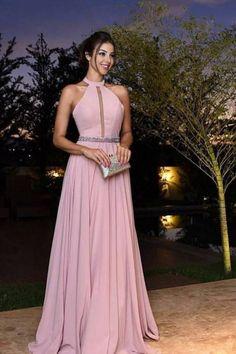 Halter Long Prom Dress, Formal Beaded Evening Dress,Custom Made Evening Dress