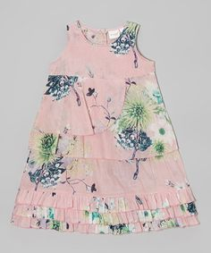 Look at this #zulilyfind! Pink Floral Tiered Dress - Toddler & Girls by Yo Baby #zulilyfinds