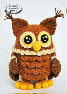 handmade toys Crochet Owl - INSPIRATION - Wise, a little mysterious and devoted. Owl accumulates and keeps much of knowledge! Carefully watching everything going on, analyzes and makes conclusions. Owl Crochet Patterns, Crochet Birds, Owl Patterns, Crochet Animals, Cute Crochet, Amigurumi Patterns, Crochet Crafts, Crochet Projects, Knitting Patterns