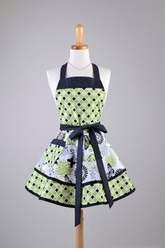 Ruffled Retro Apron  Sexy Womens Apron in Lime Green Butterflies handmade by CreativeChics, $45.00