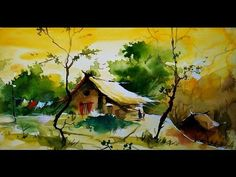 """This video is all about the """"Simple Water Color landscape For Beginners """".It shows how to paint in an easy manner,a simple sketch of a landscape & Painted co. Watercolor Art Face, Watercolor Art Landscape, Watercolor Art Lessons, Watercolor Paintings For Beginners, Watercolor Art Paintings, Watercolor Landscape Paintings, Watercolor Artists, Watercolor Techniques, Watercolor Cards"""