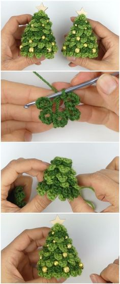 Crochet Amigurumi Learn To Crochet Christmas Tree - Learn To Crochet Christmas Tree Welcome to our colorful and beautiful world of crochet. Today we are going to learn a very beautiful crochet technique that will guarantee your success in making this C Crochet Christmas Decorations, Crochet Christmas Ornaments, Christmas Crochet Patterns, Holiday Crochet, Crochet Gifts, Christmas Crafts, Tree Decorations, Christmas Mom, Christmas Ideas