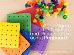 Another fun activity in our toddler color games series! This one uses pegboards to help teach colors.