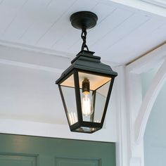 Hackney Outdoor Lantern (Chain Mounted) in MattBlack Hanging Porch Lights, Porch Ceiling Lights, Outdoor Porch Lights, Porch Lighting, Exterior Lighting, Outdoor Lighting, Outdoor Lantern, Lighting Ideas, Porch Pendant Light