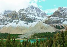 The Road from Banff to Jasper is stunning with turquoise waters, cathedral-like mountains, and glacier after glacier. Discovered by livinginpostcards at Icefields Parkway, Alberta, Canada