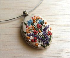 Flower Polymer Clay Necklace,Floral Necklace,Floral Pendant,Flower Cameo Necklace, Spring Flower Pendant,MADE TO ORDER