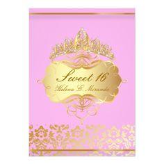 PixDezines Sweet 16/ princess/pink gold damask Personalized Invitation