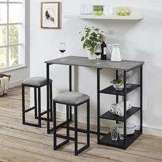 The Dorel Living Jimi Metal Pub Set with Faux Concrete Top is a great way to bring style to your home, adding a modern architectural look. Designed with small spaces in mind, this strong but lightweight set includes a trendy, faux concrete ta Dining Room Sets, Dining Room Table, A Table, Kitchen Dining, Pub Tables, Dining Chairs, Room Chairs, Bar Table Sets, Patio Bar Set
