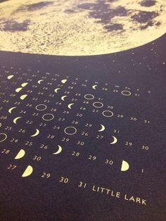 Wall calendar 2017 Moon Calendar 2017 lunar by alittlelark on Etsy