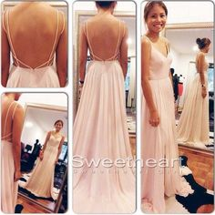 Simple chiffon backless pink long prom dress for teens, prom dress