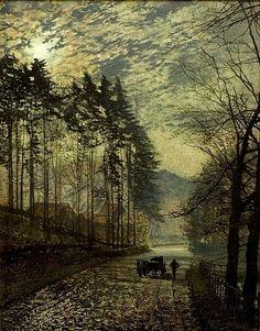 John Atkinson Grimshaw, Near Hackness, a Moonlit Scene with Pine Trees