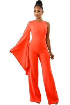 Cheap Orange Single Bell Sleeve Wide Leg Jumpsuit only US  10.24 ad9a74f7a