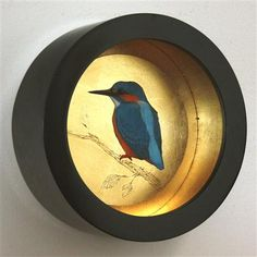 Sally-Ann Johns - Kingfisher Looking Left, Pastel and Dutch Metal on Board, 31cm dia.