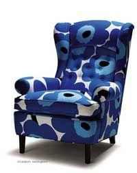 marimekko fabrik for furniture Big Comfy Chair, Marimekko Fabric, Blue Armchair, White Home Decor, Home Decor Furniture, Wingback Chair, Cozy House, Upholstery, Decoration