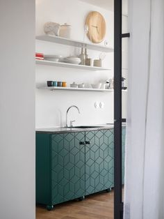 Superfront: green patterned doors on ikea kitchen