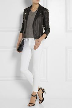 PAMELA LOVE Three Layer Archer silver-plated lapis lazuli necklace FRAME DENIM Le Skinny de Jeanne Crop mid-rise skinny jeans T BY ALEXANDER WANG Classic jersey T-shirt OAK Rider leather biker jacket ALEXANDER WANG Antonia leather sandals 3.1 PHILLIP LIM 31 Minute textured-leather clutch