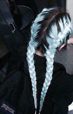 Pastel hair AND braids! Pastel hair AND braids! Hair Dye Colors, Cool Hair Color, Pastel Hair Colors, Pastel Rainbow Hair, Pastel Blue Hair, Light Blue Hair, Hair Color Blue, Hair Goals Color, Blue Grey Hair