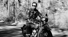 Brad Pitt Benjamin Button on motorcycle black and white pict