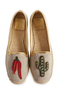 Tory Burch Canvas Espadrille. A casual-chic canvas espadrille is available in a range of striking designs: with or without a contrast cap toe; with embroidered or leather logo medallions; or even with colorful chili-pepper and cactus appliqués for a bit of Southwestern flair. SHOP NOW http://rstyle.me/n/bqsgzzrm5w