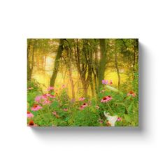 Wall Art, Stretched Canvas, Golden Sunrise with Pink Coneflowers in My Garden, Home Décor, Canvas Wraps Artwork, Horizontal Print Canvas Frame, Canvas Wall Art, Canvas Prints, Garden Painting, Garden Features, Sell On Etsy, Flower Art, Wrapped Canvas, Sunrise