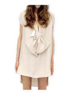 Beige Deep V-neck Short Sleeve Bow High Low Split Side Dress - Sheinside.com