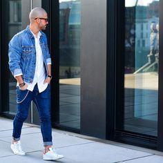 "Influencer | Style Icon on Instagram: ""full denim look. Jacket: @levis Jeans: @hm Shoes: @adidasoriginals ______ #kostawilliams"""