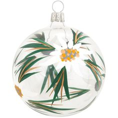 Clear Ball With Edelweiss Flower Ornament $9.99