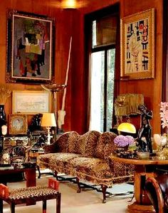 YSL and Pierre Bergé, Paris or When an art Deco room mixes elegantly with English Baroque silk-velvet leopard upholstery ! Parisian Apartment, Paris Apartments, Deco Rose, Living Spaces, Living Room, Decoration Inspiration, Interior Decorating, Interior Design, French Interior