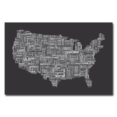 Michael Tompsett 'US Cities Text Map III' Canvas Art | Overstock.com Shopping - Top Rated Trademark Fine Art Canvas