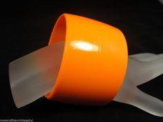 """Vintage 1980s 1 7/8"""" HUGE CHUNKY Orange Plastic Bangle Bracelet  #Unbranded #Bangle"""