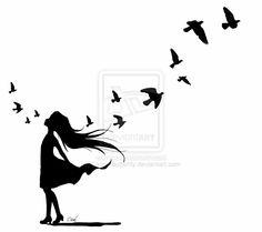 25 Trendy Bird Silhouette Tattoo Deviantart Best Picture For tattoo art For Your Taste Bird Silhouette Tattoos, Girl Silhouette, Free Tattoo Designs, Butterfly Tattoo Designs, New Tattoos, Girl Tattoos, Tatoos, Smal Tattoo, Tattoo Bird