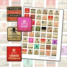 Antique Poison Pharmacy Label 1 inch square digital collage sheet inchies inchie 25 mm x 25 mm arsenic acid 25.4mm red black apothecary