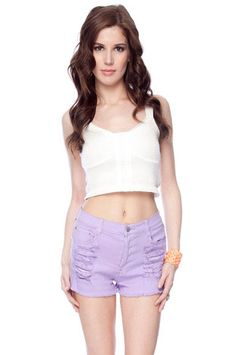 Mink Pink Zappo Denim Shorts in Lilac $77 at www.tobi.com