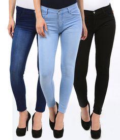 Fasdest Ladies/Women  Basic  Ankle Length  Blue,Black, Ice Blue  Jeans Combo     eBay