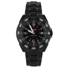 Traser Tritium Watch - Tactical Collection - Tornado Pro w/ PVD Steel... ($626) ❤ liked on Polyvore featuring men's fashion, men's jewelry, men's watches, mens black face watches and stainless steel mens watches