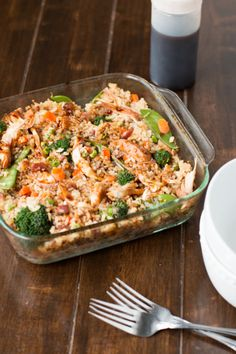 """This chicken casserole recipe combines two of your favorite Asian recipes into one fabulous dish. Teriyaki chicken and """"fried"""" rice come together in this easy chicken dinner that can truly feed the whole family. Teriyaki Chicken Casserole, Teriyaki Chicken And Rice, Teriyaki Sauce, Soy Sauce, Teriyaki Beef, Chicken Cassarole, Honey Chicken, Chicken Rice, Chicken Bacon"""