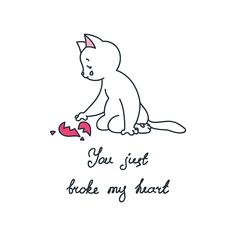 Illustration of sad white cat with parts of broken heart. Isolated on white background Heart Broken, Broken Heart Quotes, Creation Logo Png, Broken Heart Wallpaper, Mental Break, Even When It Hurts, Cute Cat Wallpaper, Skeleton Art, Heart Illustration