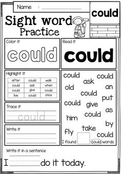 Free Sight Word Practice. These sight word practice pages are perfect for Kindergarten and first graders. These sight word pages help children to learn sight word by reading, tracing, writing, coloring, finding and counting.