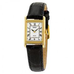 Seiko Solar White Dial Black Leather Ladies Watch SUP250