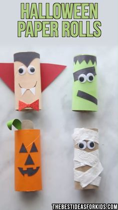 halloween manualidades HALLOWEEN CRAFTS FOR KIDS: these Halloween toilet paper rolls are too cute! A pumpkin, mummy, frankenstein and vampire toilet paper roll crafts for Halloween. An easy Halloween craft for toddlers or preschool! Theme Halloween, Halloween Arts And Crafts, Halloween Crafts For Toddlers, Diy Halloween Decorations, Halloween Diy, Halloween Makeup, Women Halloween, Halloween Art Projects, Halloween Costumes