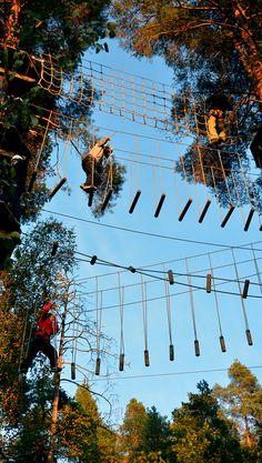Seikkailijoita alaradoilla kolmessa kerroksessa. Ylimmillä esteillä tasapainoillaan 18 metrissä. #seikkailupuisto #treetopadventure #espoo #finland