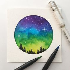 Login - Marissa W - Login Can we talk about how vibrant these colors are OMG 😍 I impulse bought a set of last week, and this was the result. Safe to say I'm in love 💕 - Watercolor Galaxy, Galaxy Painting, Galaxy Art, Watercolor Cards, Watercolor Paintings, Watercolour, Mini Canvas Art, Pastel Art, Elementary Art