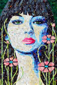 Artist Sandhi Schimmel Gold creates these stunning pop art portraits from junk mail. My work reflects our society's obsession with beauty through advertisi