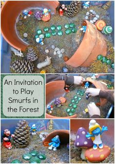 Natural Beach Living: An Invitation to Play in the Woods. Love the idea of a small world set up outside for the kids to discover! Sensory Bins, Sensory Play, Sensory Activities, Hands On Activities, Small World Play, Play Centre, Outdoor Learning, Dramatic Play, Imaginative Play