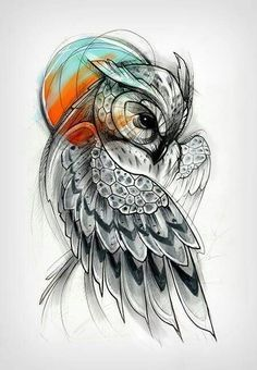 Tattoos are wonderful ways to express your views and interests. Owl tattoos, with their multiple meanings, . What is the meaning behind an owl tattoo? Kunst Tattoos, Body Art Tattoos, New Tattoos, Cool Tattoos, Pretty Skull Tattoos, Sleeve Tattoos, Circle Tattoos, Stomach Tattoos, Anchor Tattoos