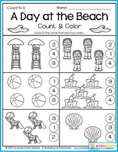 This is for sure a summer worksheet! Spending a day at the beach is just one of those summer things we do. On this worksheet kids count how many objects in each set and color in the number circle that tells how many. This is just one of 30 worksheets in my July Counting Worksheets set. Please take a look. I think you and your kids will like them a lot! Counting Worksheets For Kindergarten, Summer Worksheets, Graphing Worksheets, Alphabet Tracing Worksheets, Counting For Kids, Tracing Letters, Upper And Lowercase Letters, Lower Case Letters, Kids Count