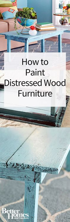 Use this distressed furniture technique to age wood furniture with paint…