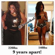 Tameika lost 90 pounds.  Her initial transformation took 9 months and she's kept the weight off for 9 years. After being overweight for her entire life, this Canadian fitness diva lost the weight by eating clean and training hard. Now, she wants to inspire and help others to do the same.